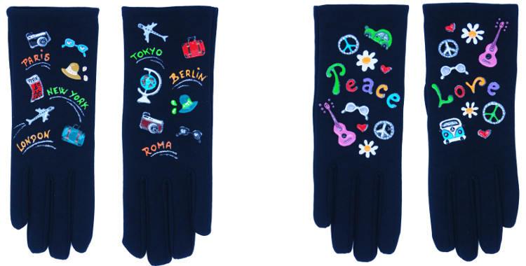 Les gants fantaisie de la marque Quand les poules auront des gants sont peints à la main et au pochoir, modèles les voyages et le power flower.