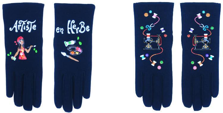 Les gants fantaisie de la marque Quand les poules auront des gants sont peints à la main et au pochoir, modèles l'artiste en herbe et la machine à coudre.