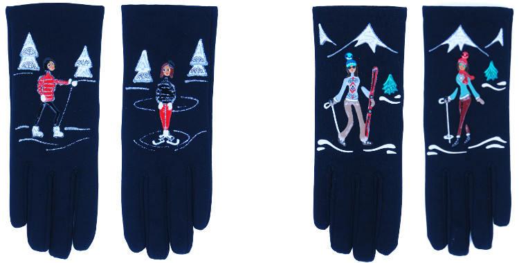 Les gants fantaisie de la marque Quand les poules auront des gants sont peints à la main et au pochoir, modèles Skieuses et Patineuse.
