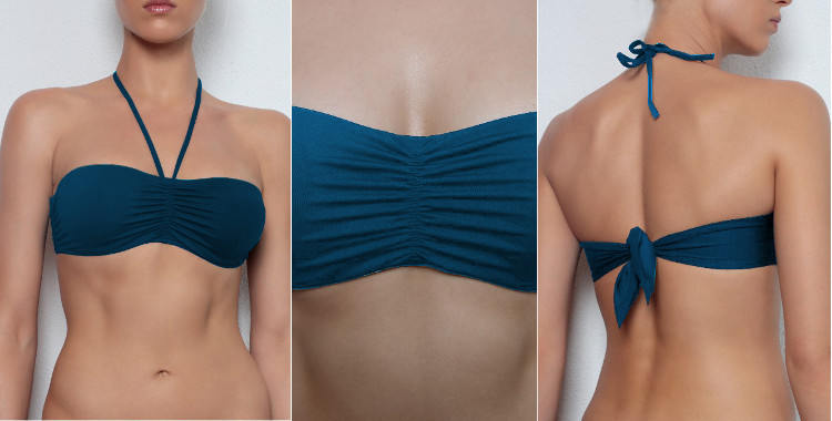 Soutien gorge de maillot de bain Dnud 2017, armature cachée, lien d'attache derrière le cou amovible, noué dans le dos, coloris bleu de prusse.