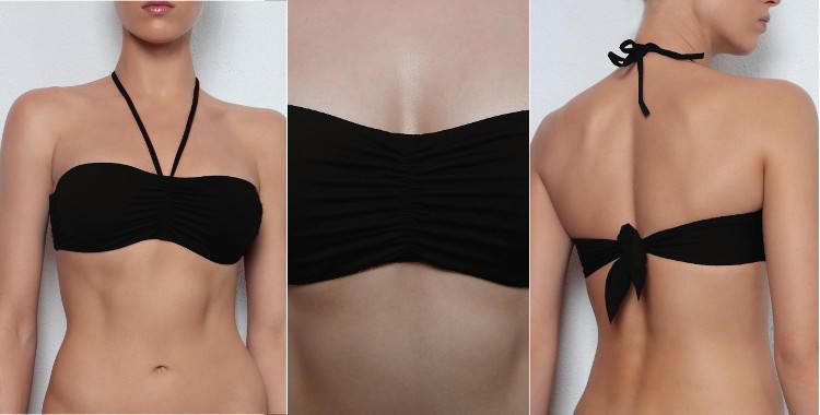 Soutien gorge de maillot de bain Dnud 2017, armature cachée, lien d'attache derrière le cou amovible, noué dans le dos, coloris noir.