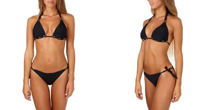 Bikini de la marque Pin Up Stars,tissus sans coutures, soutien gorge triangle coulissant paddé, avec coussinets en mousse amovibles, culotte échancrée avec liens noués sur les côtés
