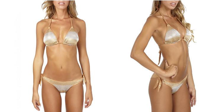 Maillots de bain deux pièces bikini de la marque Pin Up Stars, soutien gorge profond, dégradé argenté et doré, triangle coulissant paddé, mousses amovibles, culotte échancrée avec liens noués sur les côtés.