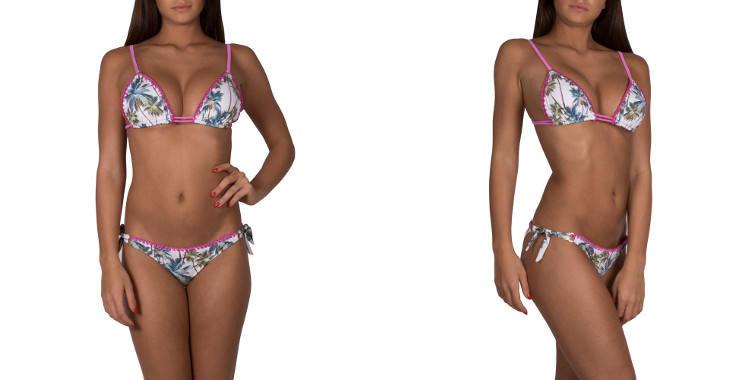 Maillot deux pièces bikini de la marque italienne Pin Up Stars, soutien gorge forme triangle coulissant avec bretelles sur l'épaule, culotte échancrée, nouée sur les côtés, coloris blanc.