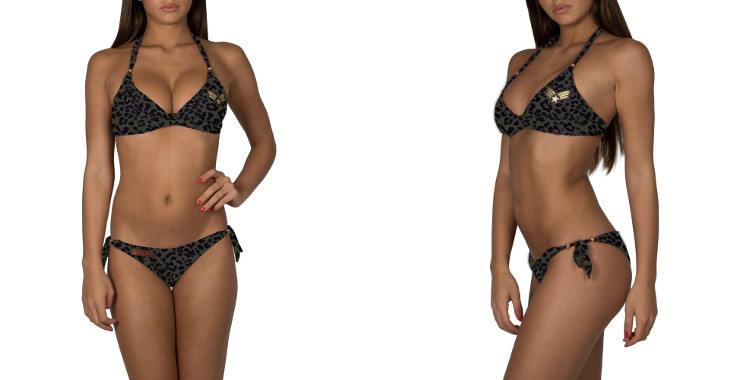 Bikini de la marque Pin Up Stars, soutien gorge profond, imprimé treillis, triangle, culotte échancrée avec liens noués sur les côtés.