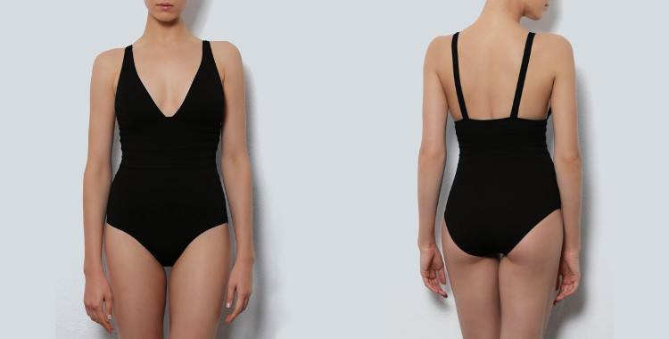 Maillot de bain une pièce Dnud 2017, modèle Hobby, décolletté V, coutures graphiques et gainantes au niveau du ventre, bretelles sur les épaules, coloris noir.