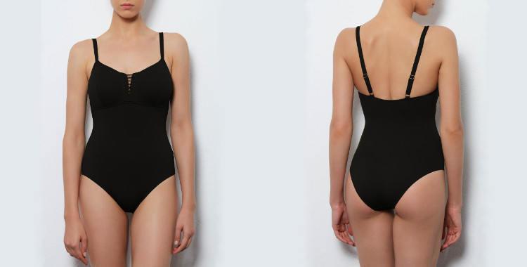 Maillot de bain une pièce Dnud 2017, modèle Corset, décolletté droit avec laçage et couture sous poitrine, bretelles réglables sur l'épaule, coloris noir.