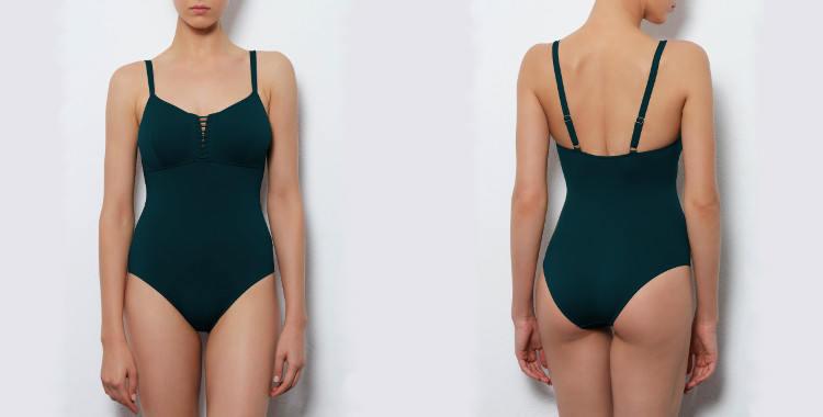 Maillot de bain une pièce Dnud 2017, modèle Corset, décolletté droit avec laçage et couture sous poitrine, bretelles réglable sur l'épaule, coloris