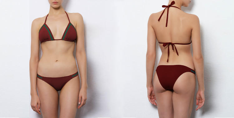 Maillot de bain Dnud 2017, modèle deux pièces bikini, modèle Stripes, soutien gorge triangle coulissant, coloris rouge bordeaux sangria décoré de bandes bleu.