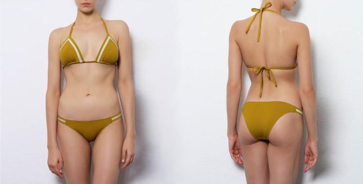 Maillot de bain Dnud 2017, modèle deux pièces bikini, modèle Stripes, soutien gorge triangle coulissant, coloris jaune, décoré de bandes blanches.