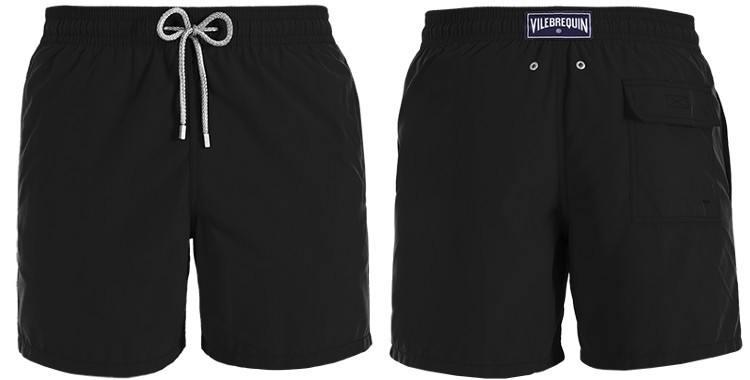 """Maillot de bain pour hommes Vilebrequin 2017, modèle """"Moorea"""", coloris noir, poches sur les côtés, poche arrière avec rabat, ceinture élastique et cordon."""