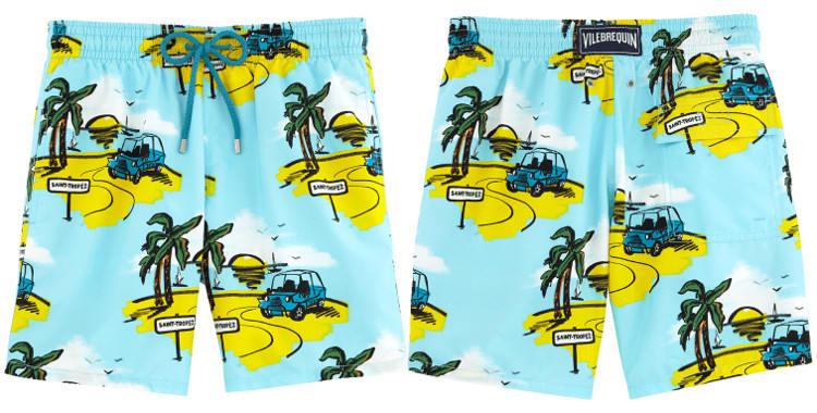 Maillots de bain pour hommes, Vilebrequin 2017, modèle Moorea, thème le Sunnycar, coloris bleu, poches sur les côtés, poche arrière avec rabat, ceinture élastique et cordon.