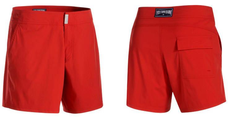Maillot de bain pour homme de la marque Vilebrequin, modèle Merise, coloris rouge coquelicot, à porter également commen un short prêt-à-porter