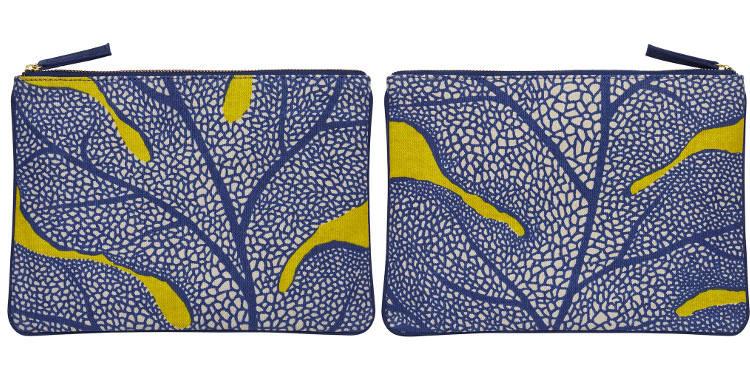 Pochette en coton, brodée, fermeture zip, collection Inouitoosh 2017, motif La Feuille de Chêne.