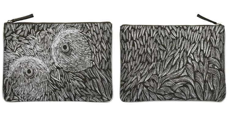 Pochette en coton, brodée, fermeture zip, collection Inouitoosh 2017, motif Le Hiboux.
