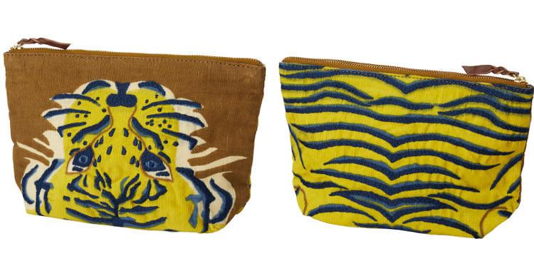 Pochette en coton, brodée, fermeture zip, collection Inouitoosh 2017, motif Le Tigre.