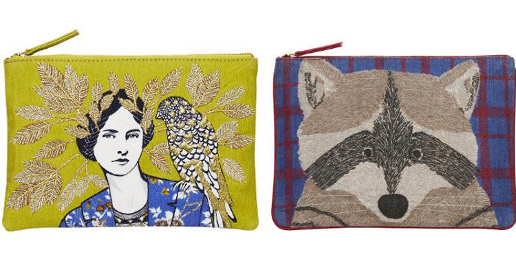 Pochettes en coton, fermeture zip, collection Inouitoosh 2017, à gauche ; motif La Femme et Le Perroquet, à droite ; Le Raton Laveur.