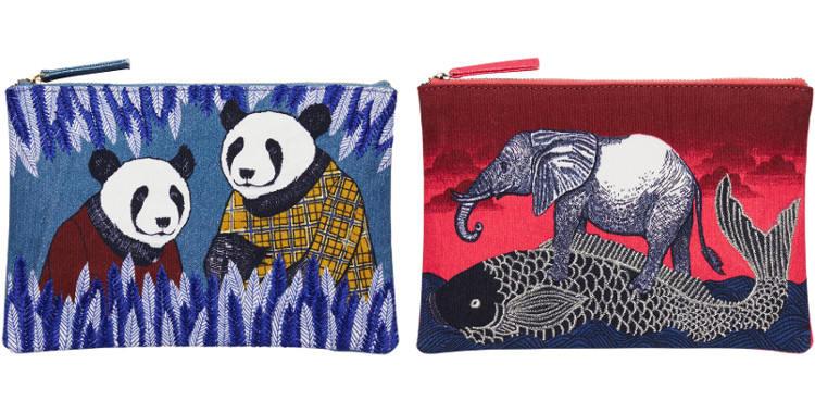 Pochettes en coton, brodées, fermeture zip, collection Inouitoosh 2017, à gauche ; motif Les Pandas, à droite ; Le Poisson Japonais et L'Eléphant. .