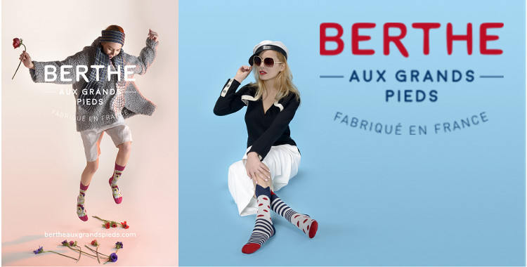 Chaussettes fantaisie, pour femmes, en coton, de la marque Berthe aux Grands Pieds, collection 2017.