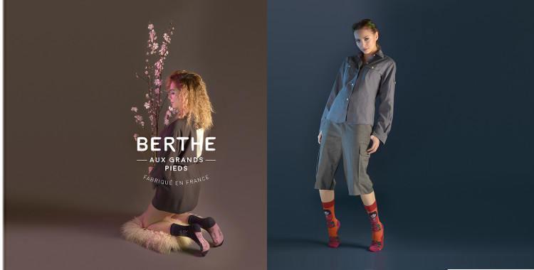 Chaussettes fantaisie, pour femmes, en laine peignée, de la marque Berthe aux Grands Pieds, collection 2017.