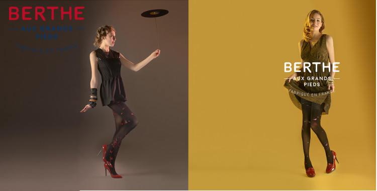 """Collants fantaisie de la marque Berthe aux Grands Pieds, collection 2017, modèles : """"Les Papillons"""" (à gauche), """"L'Oiseau, La Cage et La Liberté"""" (à droite)."""