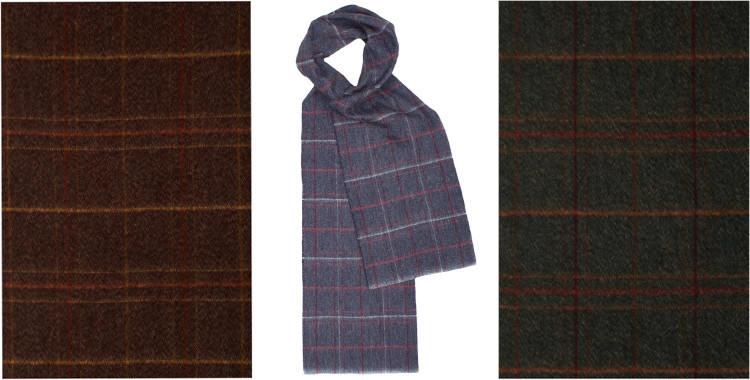 Écharpes classiques, en laine mérinos et angora, motif Tweed, dimensions 180 x 30 cm, de la marque britannique Glen Prince, en coloris marron, bleu et vert kaki.