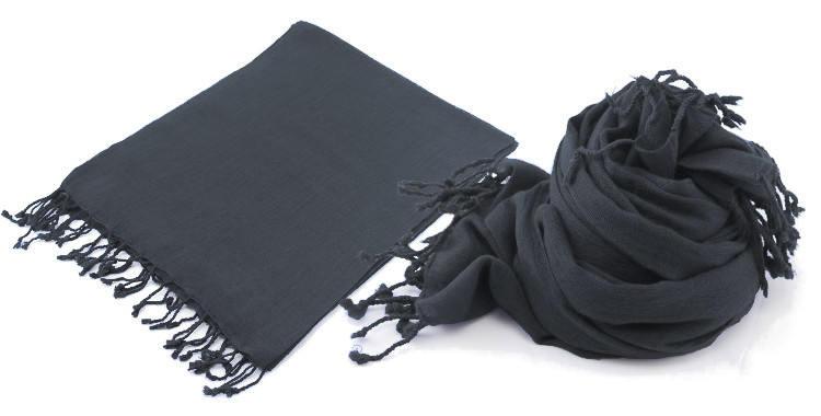 Foulard en étamine de laine fine, de la marque britannique, Glen Prince, unis, coloris gris, dimensions 180 x 70 cm, à porter en étoles ou en écharpes.