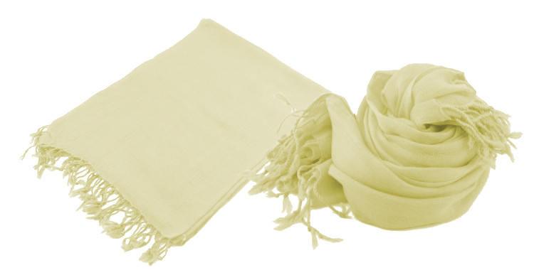 Foulard uni, Glen Prince, collection 2017, en étamine 100 % laine, dimensions : 70 x 180 cm, coloris beige, à porter en étole ou en écharpes.