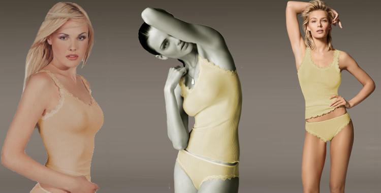Caraco en soie, plissé côtelé, en pure soie, col rond, bretelles, bord dentelle, coloris doré, collection Lisanza 2017.