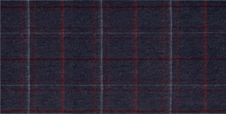 Écharpe en laine mérinos et angora, motif tweed, fabriquée en Écosse par la maison Glen Prince, dimensions : 180 x 30 cm, en coloris : bandes rouges et blanches sur fond bleu.