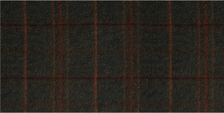 Écharpe en laine mérinos et angora, motif tweed, fabriquée en Écosse par la maison Glen Prince, dimensions : 180 x 30 cm, en coloris : bandes oranges et rouges sur fond vert kaki.