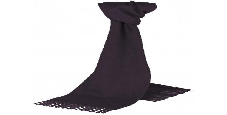 Foulard à porter en étole ou écharpe, 100 % cachemire, de la marque britannique Glen Prince, fabriqué en Écosse, en coloris noir, dimensions 190 x 70 cm.