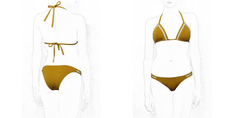 Maillot de bain deux pièces, soutien gorge triangle coulissant, culotte fine, de la marque Dnud.