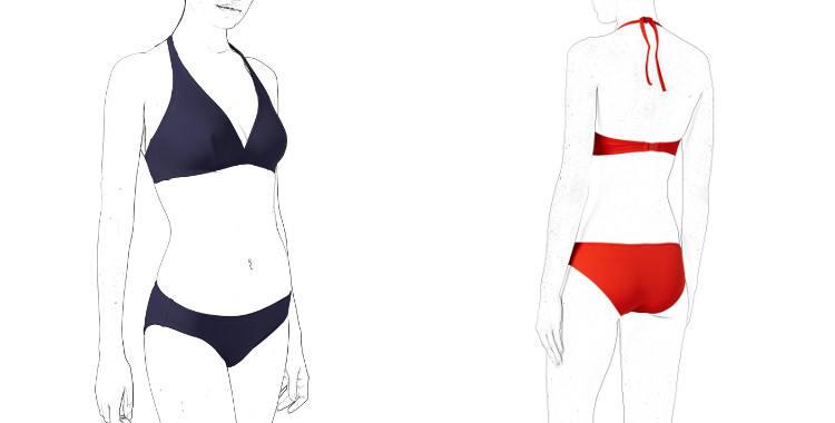 Maillot de bain deux pièces, soutien gorge forme triangle, profond, emboitant, baleines invisibles sur les côtés, culotte ; forme classique, de la marque Eres.