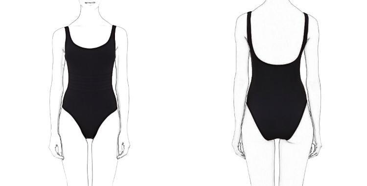 Maillot de bain, décolleté poitrine droit légèrement arrondi, décolleté dos moyen,trois bandes de couture au niveau du ventre, de la marque Eres.