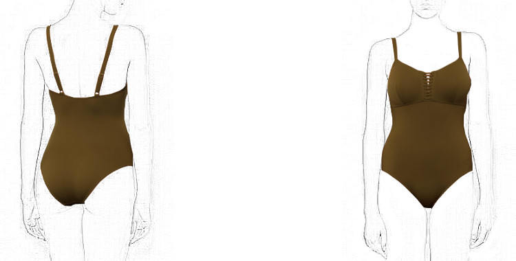 Maillot de bain, décolleté poitrine droit orné d'un laçage, décolleté dos montant, couture de maintien sous poitrine, de la marque Dnud.