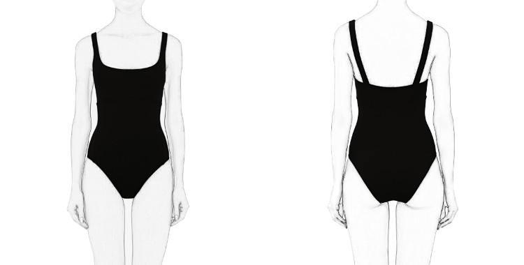 Maillot de bain, décolleté poitrine droit légèrement arrondi, décolleté dos montant, couture de maintien sous poitrine, de la marque Eres.