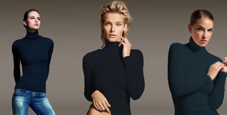 Pull col roulé, en laine et soie, plissé côtelé, manches longues, de la marque italienne Lisanza, collection 2017, en coloris bleu foncé.