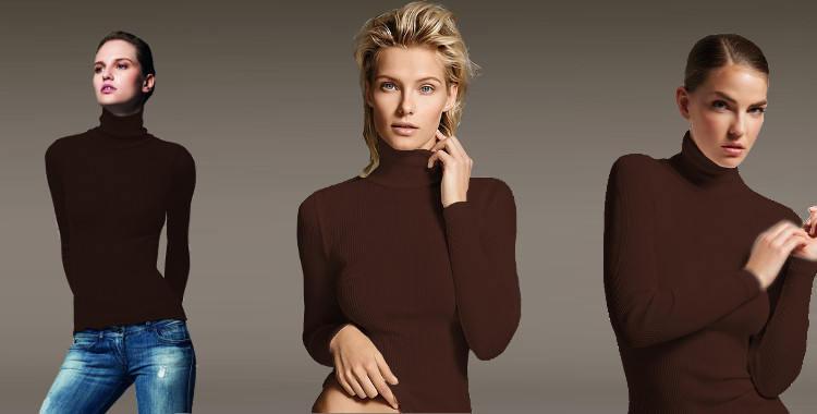 Pull col roulé, en laine et soie, plissé côtelé, manches longues, de la marque italienne Lisanza, collection 2017, en coloris marron.
