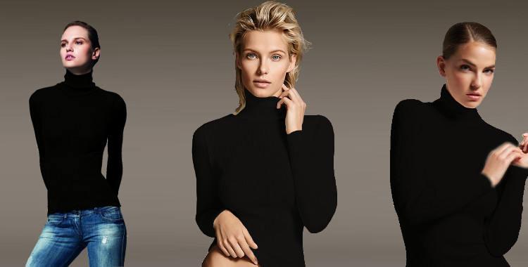 Pull col roulé, en laine et soie, plissé côtelé, manches longues, de la marque italienne Lisanza, collection 2017, en coloris noir.