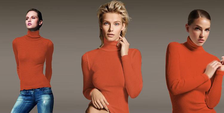 Pull col roulé, en laine et soie, plissé côtelé, manches longues, de la marque italienne Lisanza, collection 2017, en coloris orange.