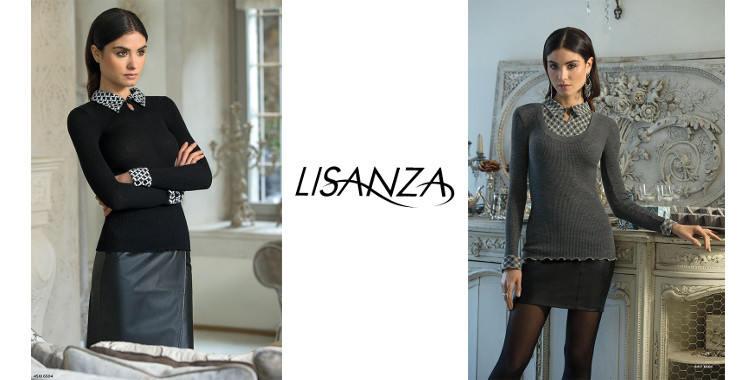 Pull col chemise et manchettes imprimées, en laine et soie, plissé côtelé, manches longues, de la marque italienne Lisanza, collection 2017, en coloris gris.
