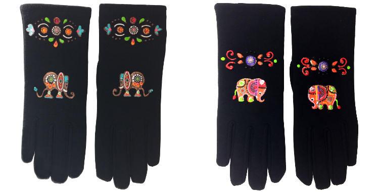 Les gants fantaisie, les éléphants, de la maison Quand les poules auront des gants, sont peints à la main et taille unique