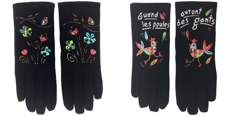 Les gants fantaisie, de la maison Quand les poules auront des gants, sont peints à la main et taille unique, Les oiseaux (à gauche) ou Les poules (à droite).
