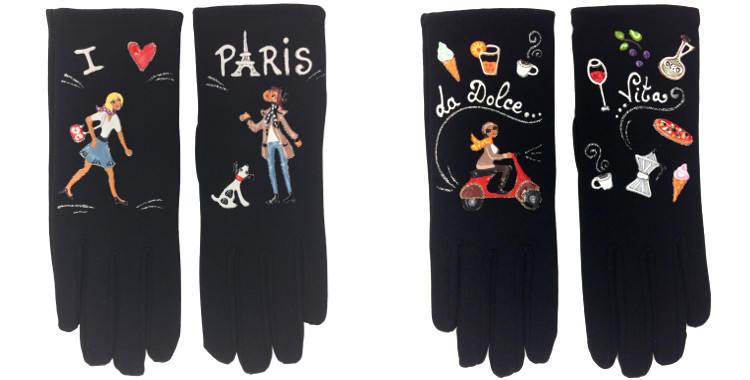 Les gants fantaisie, de la maison Quand les poules auront des gants, sont peints à la main et taille unique, I love Paris (à gauche) ou La Dolce Vita (à droite)