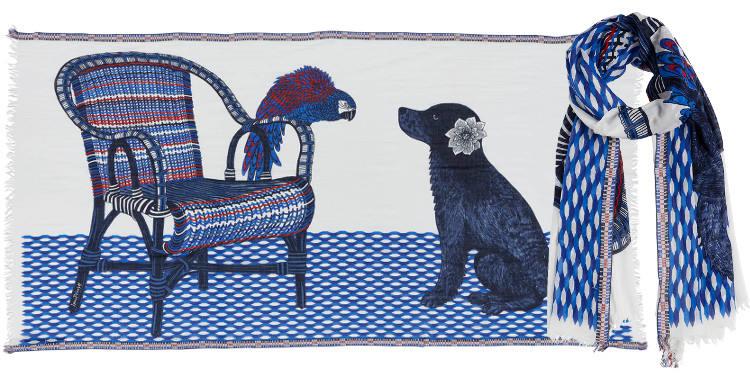 Foulards en coton le chien et le perroquet Inouitoosh été 2018 blanc bleu