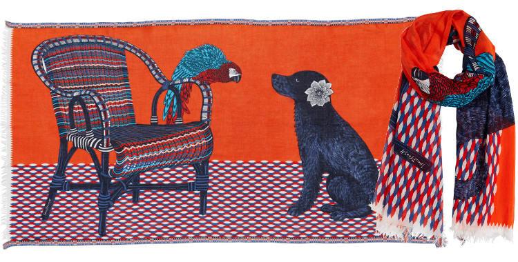 Foulards en coton le chien et le perroquet Inouitoosh été 2018 orange