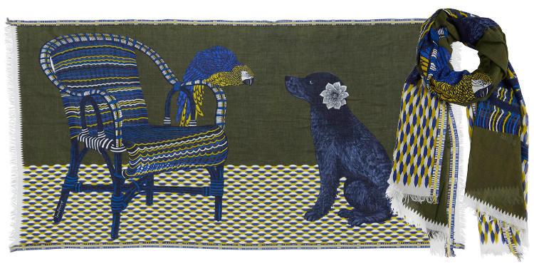 Foulards en coton le chien et le perroquet Inouitoosh été 2018 kaki