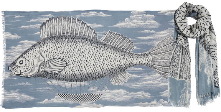 Foulards en coton le poisson montgolfière Inouitoosh été 2018 bleu