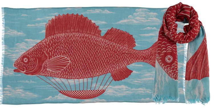Foulards en coton le poisson montgolfière Inouitoosh été 2018 turquoise